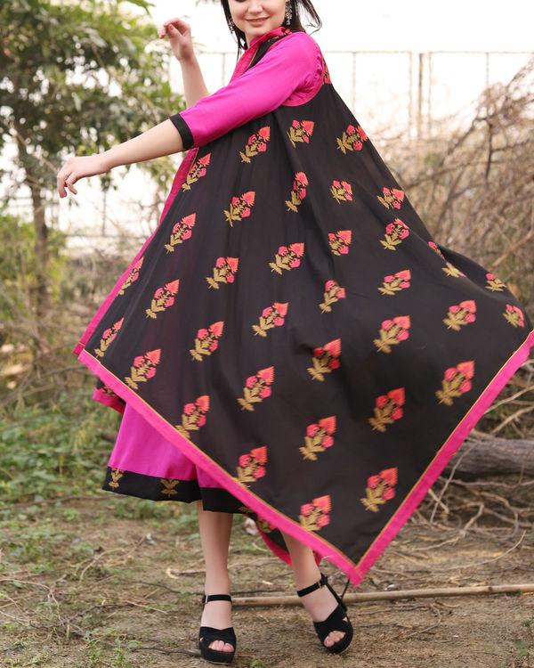 Floral black waterfall jacket dress 2