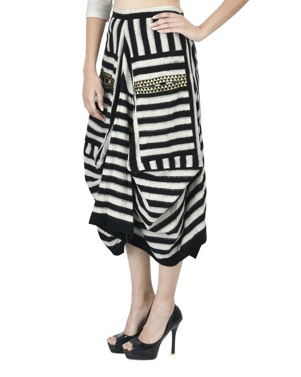 Black and white ikat draped skirt 1