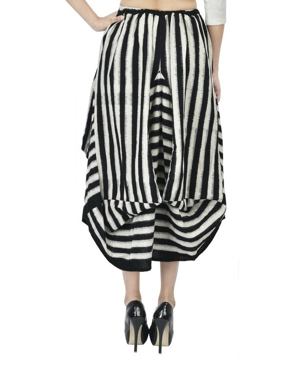 Black and white ikat draped skirt 2