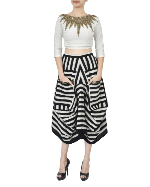 Black and white ikat draped skirt 3