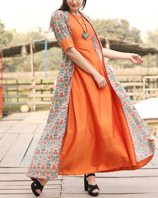 Orange floral self embroidered jacket dress 1