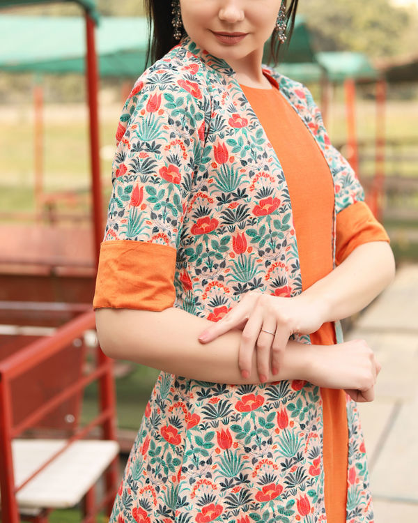 Orange floral self embroidered jacket dress 3