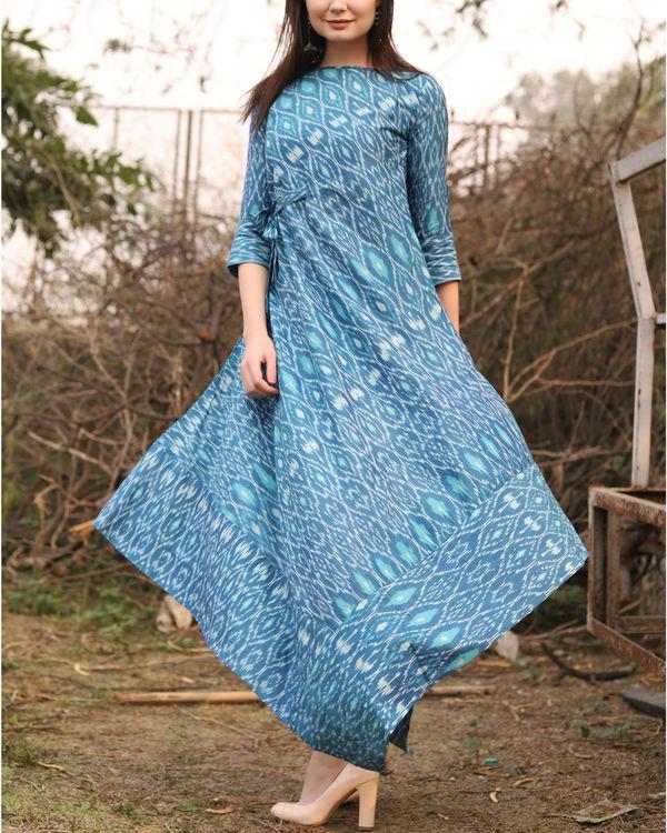 Blue ikat uneven hemline dress 1