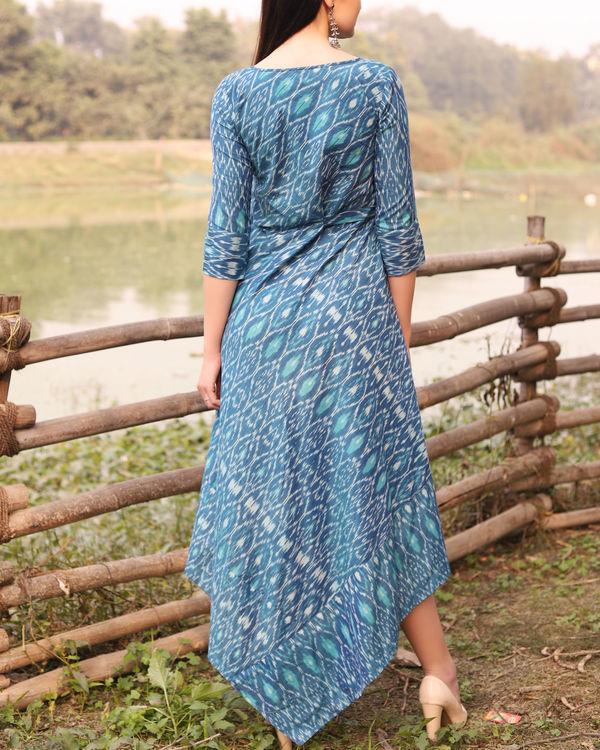 Blue ikat uneven hemline dress 2
