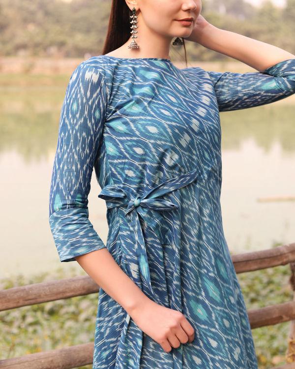 Blue ikat uneven hemline dress 3