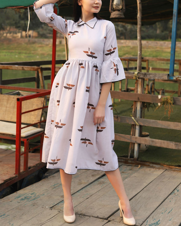 Dull white printed collar dress 1