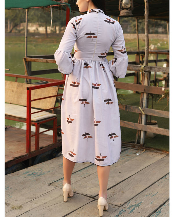 Dull white printed collar dress 3