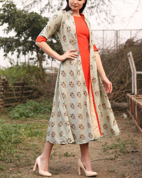 Printed khadi jute jacket dress 3