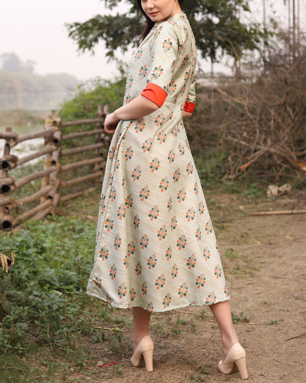 Printed khadi jute jacket dress 2