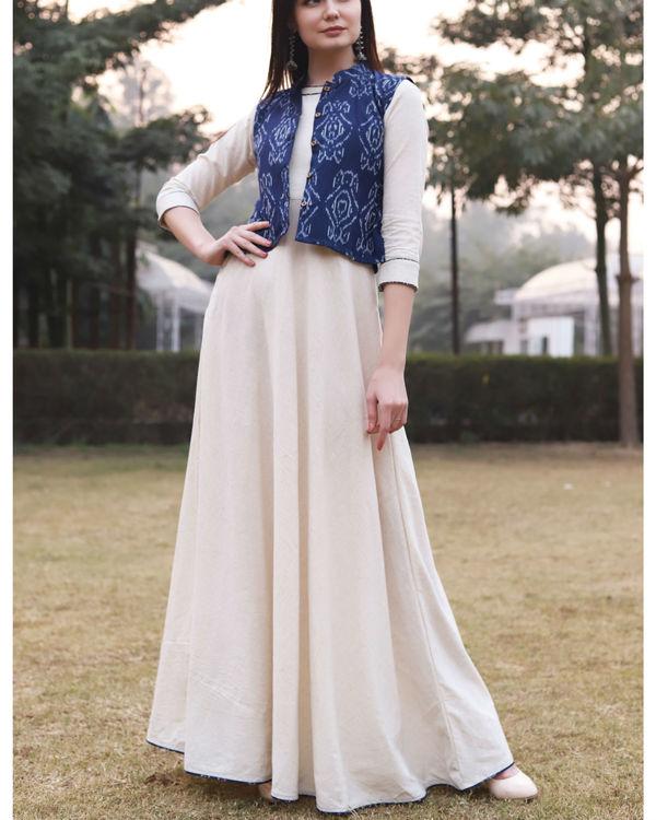 White khadi cotton dress with ikat jacket 2