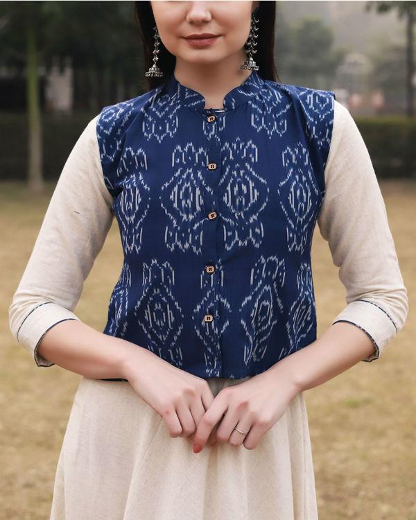 White khadi cotton dress with ikat jacket 1