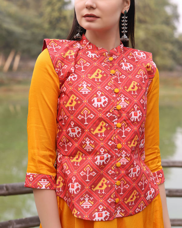 Yellow cotton dress with patola print jacket 3