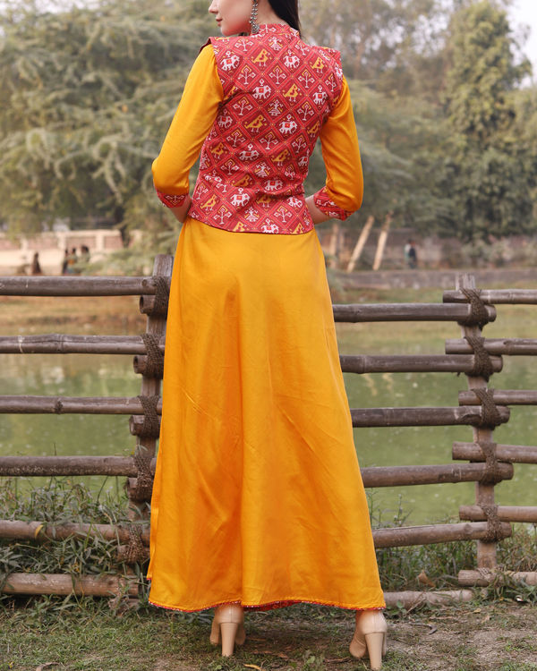 Yellow cotton dress with patola print jacket 2