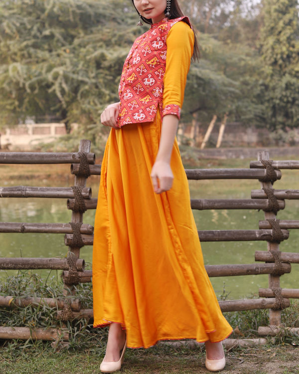 Yellow cotton dress with patola print jacket 1