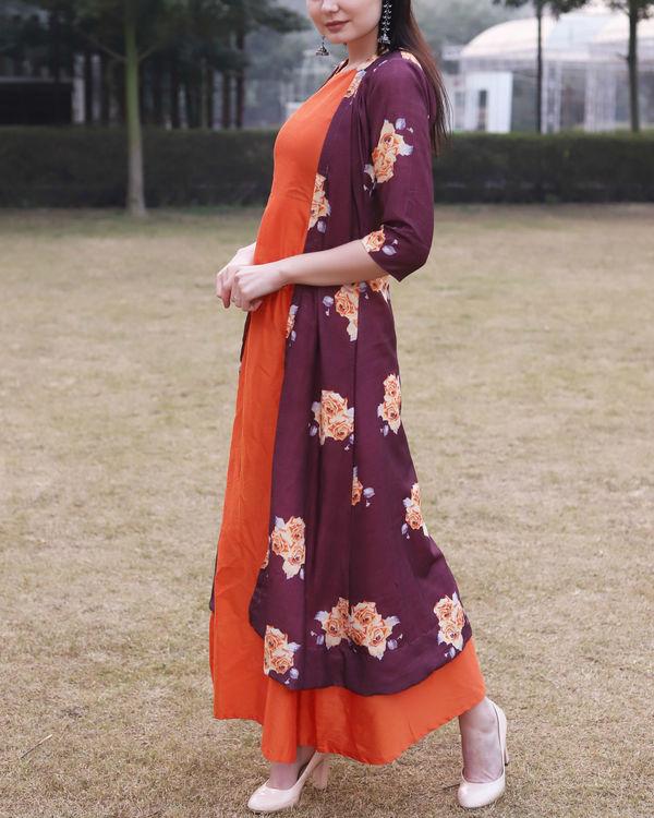 Printed rose jacket dress 1