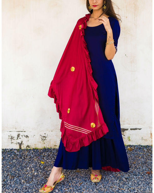Blue frill dupatta suit set 2