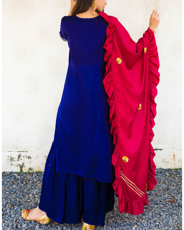 Blue frill dupatta suit set 1