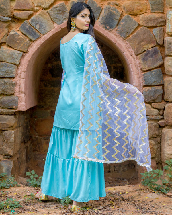 Sky Blue Silver Gota Sharara Set By Empress Pitara