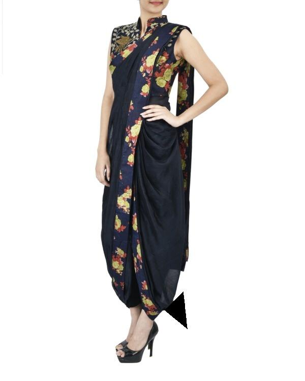 Midnight blue floral pre draped saree 1