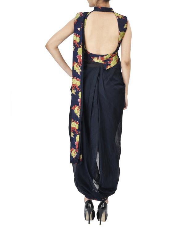 Midnight blue floral pre draped saree 2