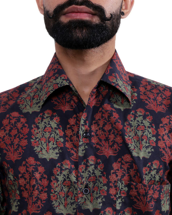 Red and black printed shirt 1