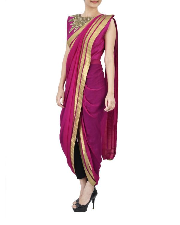 Pink pre draped saree 1