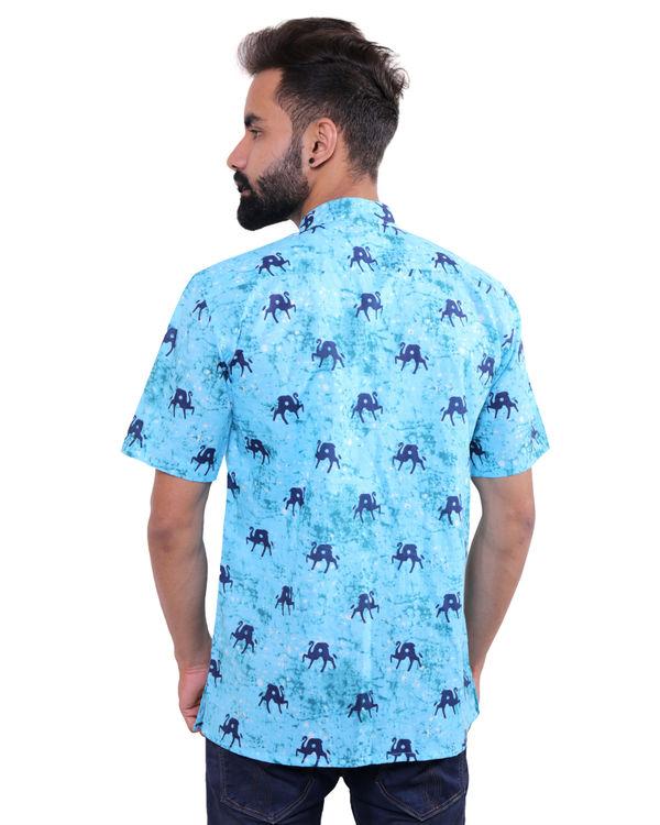 Aqua blue printed cotton shirt 1