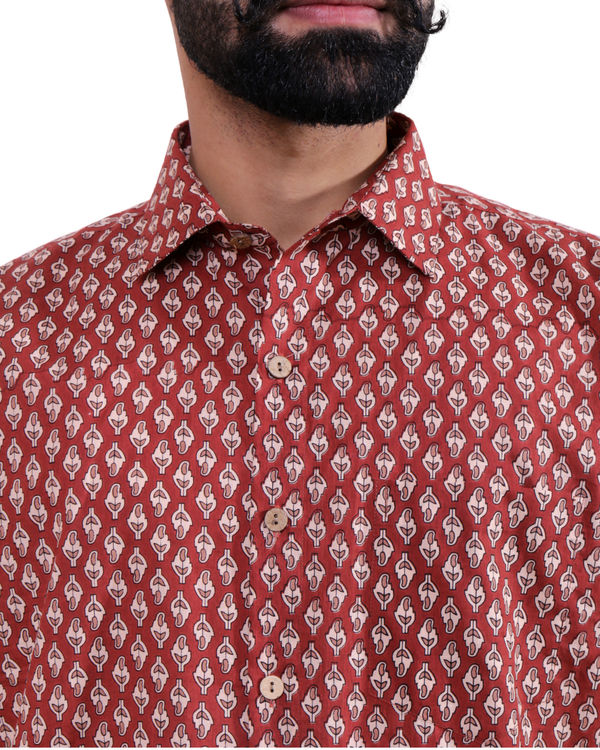 Maroon all-over print shirt 1