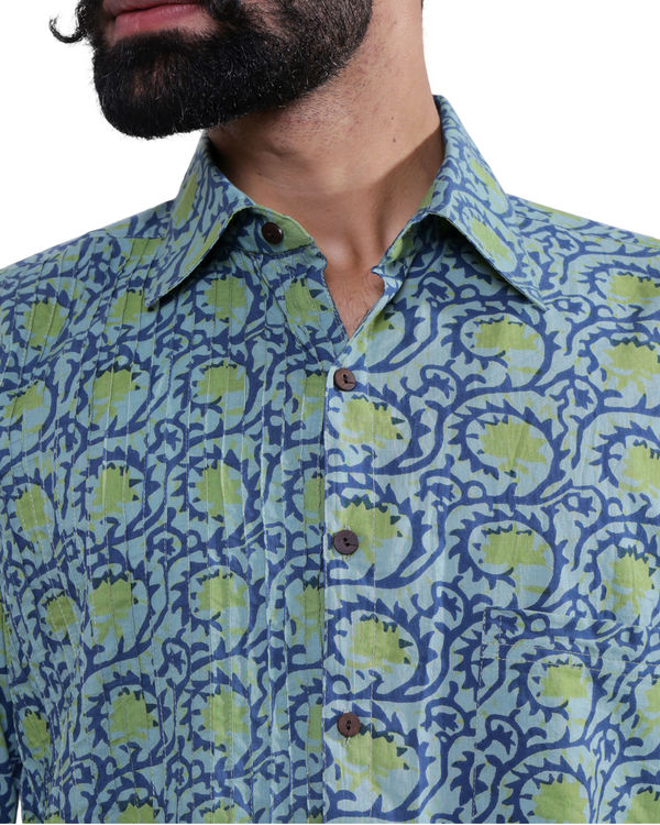 Blue printed tucks shirt 1