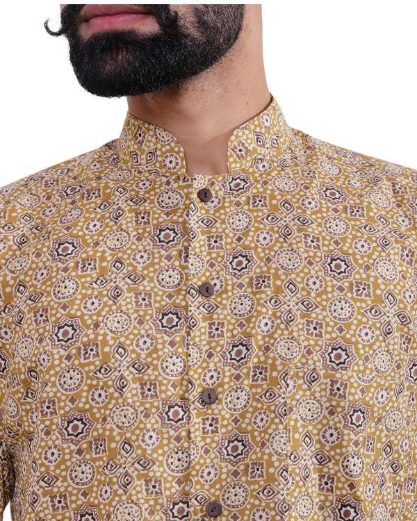 Beige ajrakh print shirt 2