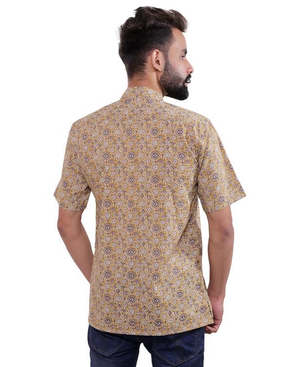 Beige ajrakh print shirt 1