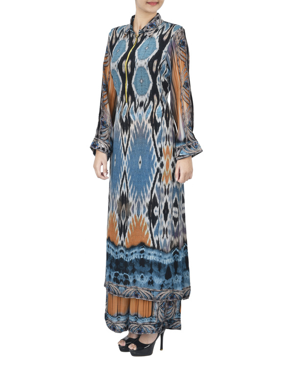 Blue and black kurta set with palazzo 1