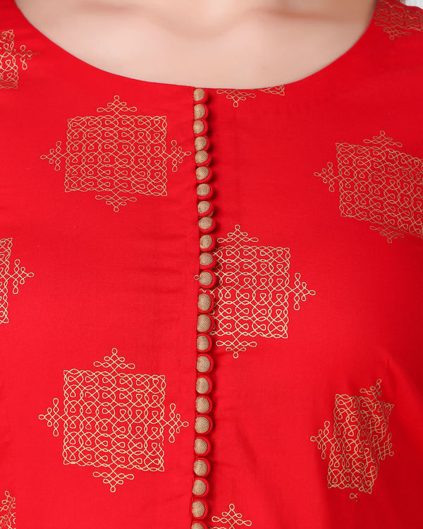Red golden print pleated set 3