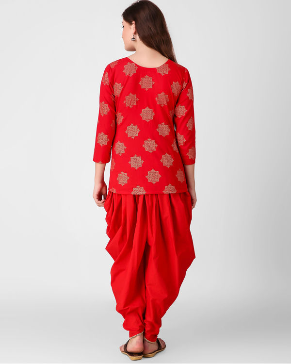 Red golden print dhoti set 3