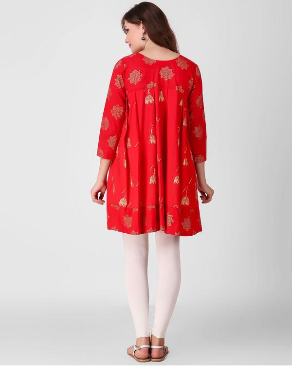 Red dual print tunic 1
