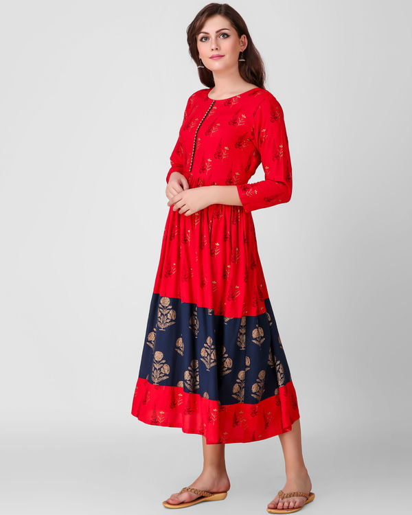 Red and blue gathered dress 1