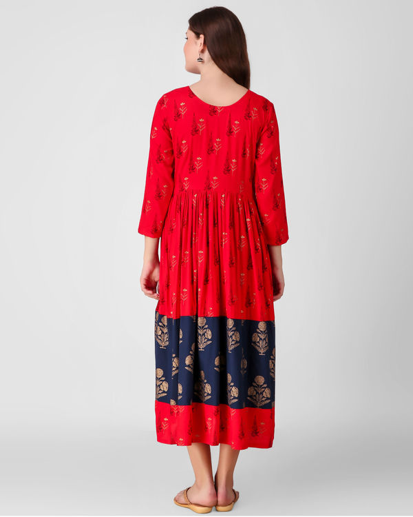 Red and blue gathered dress 2