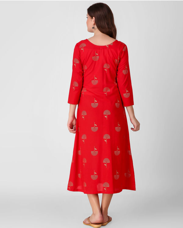 Red golden daffodil print dress 3