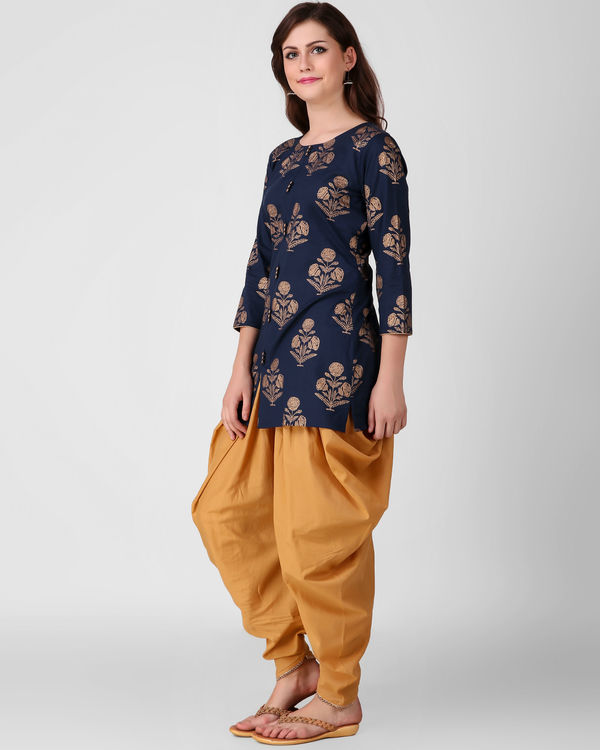 Blue gold print dhoti set 1
