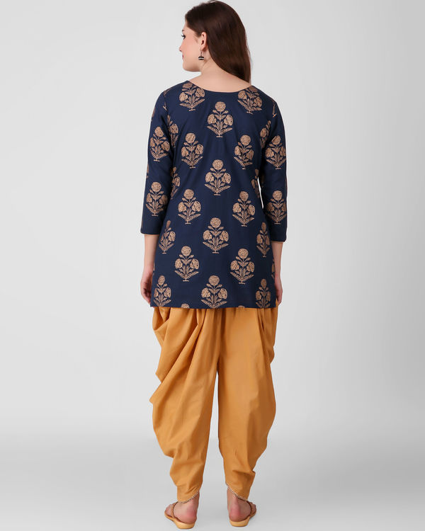 Blue gold print dhoti set 2
