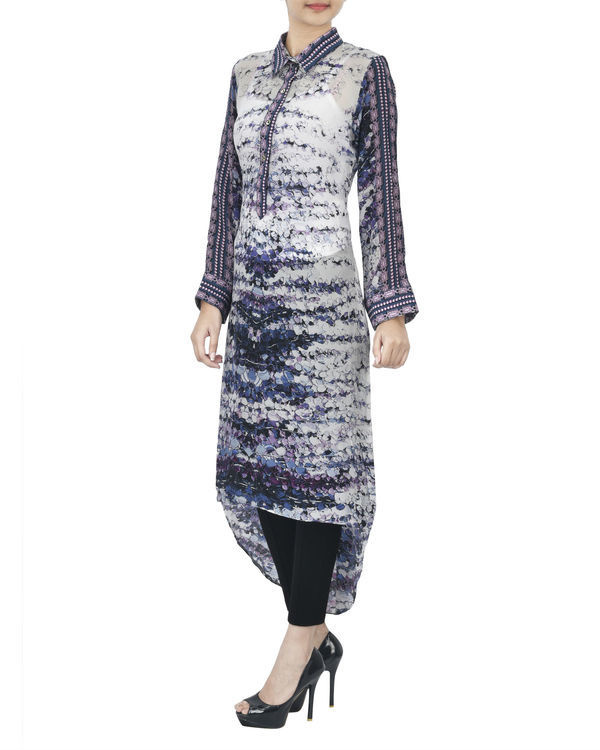 Ivory blue high low kurta 1