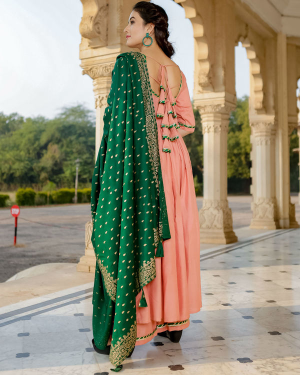 Peach and green anarkali set 2