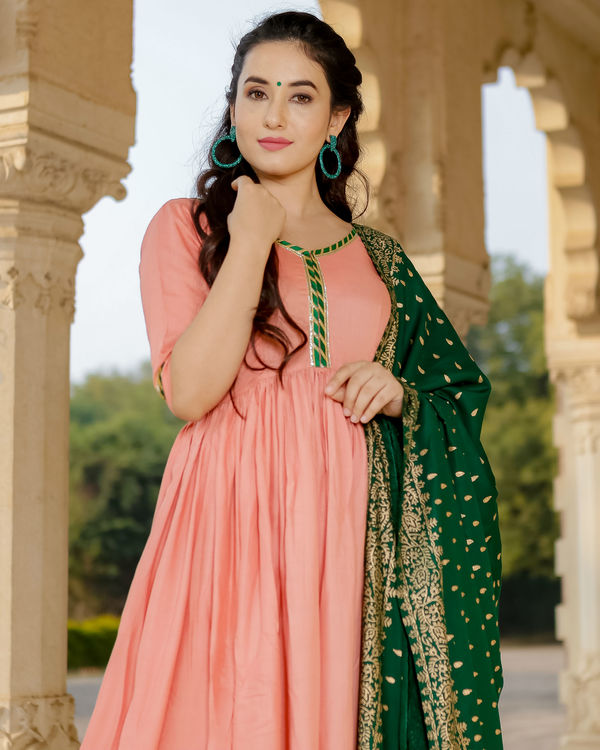 Peach and green anarkali set 1