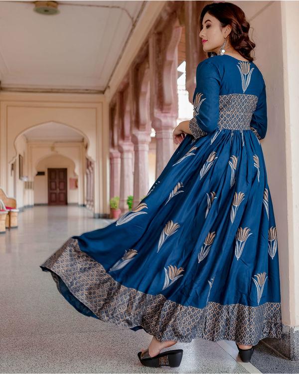 Blue lotus hand block print dress 1