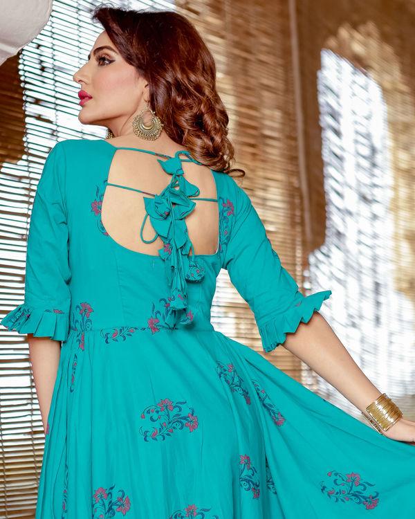 Sea blue hand printed dress 2
