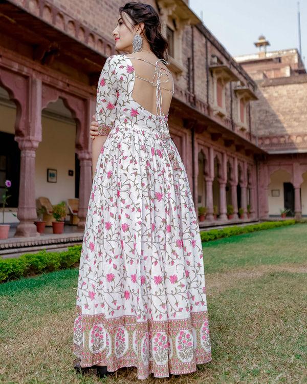 White garden handblock dress 1