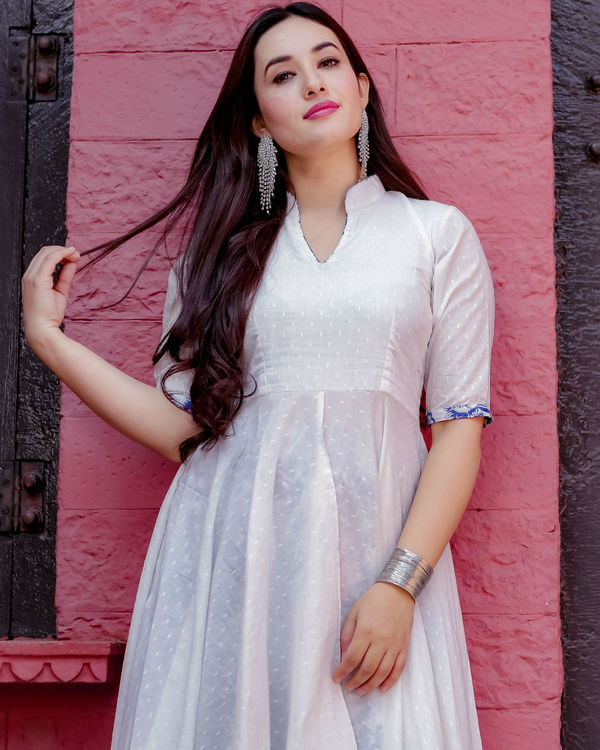 White and blue uneven kurta set 2