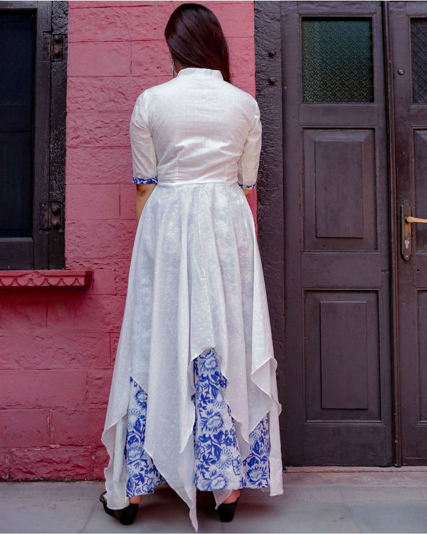 White and blue uneven kurta set 1