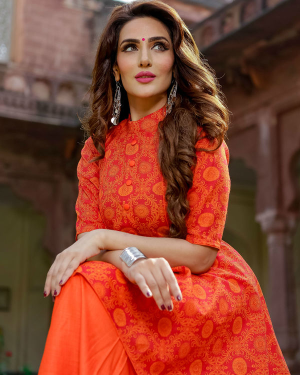 Orange high-low kurta set 1