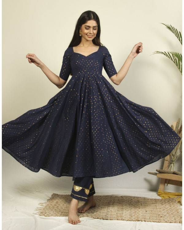 Denim Blue flared kurta with flower dupatta 1